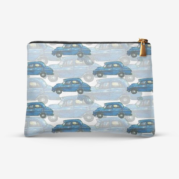 Косметичка «Авто тачки машины синий паттерн »