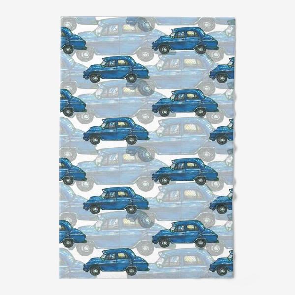Полотенце «Авто тачки машины синий паттерн »