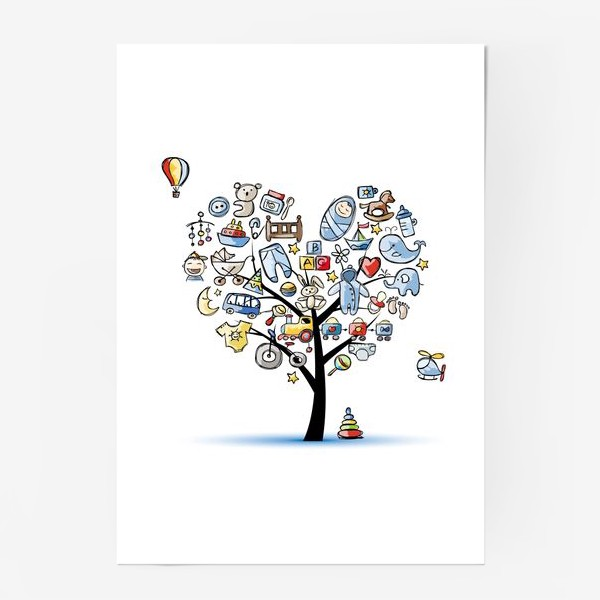 Постер «Дерево с игрушками»