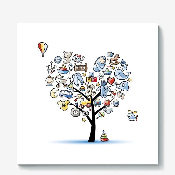 Холст «Дерево с игрушками»