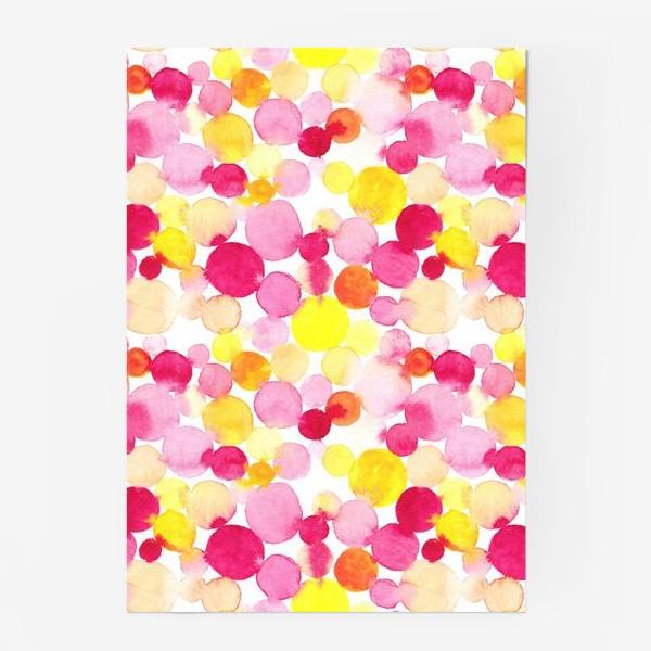 Постер «Акварельные круги, летний абстрактный геометрический паттерн в горошек розовый желтый, оранжевый на белом фоне»