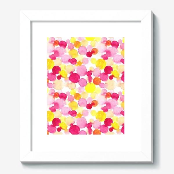 Картина «Акварельные круги, летний абстрактный геометрический паттерн в горошек розовый желтый, оранжевый на белом фоне»