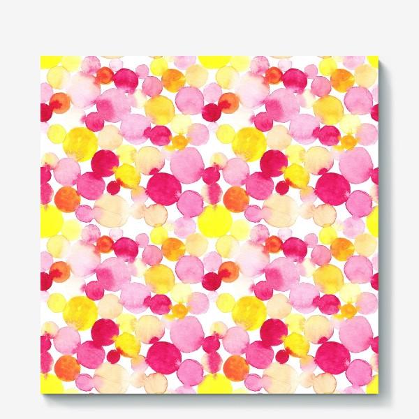 Холст «Акварельные круги, летний абстрактный геометрический паттерн в горошек розовый желтый, оранжевый на белом фоне»