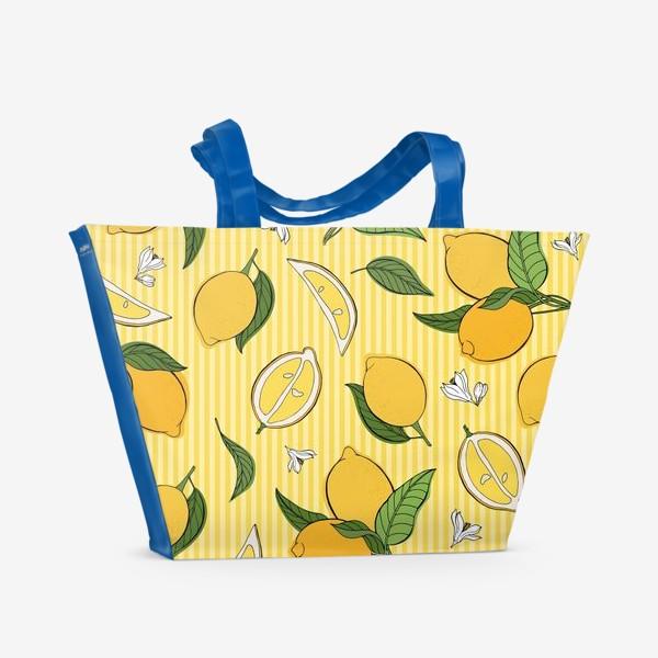 Пляжная сумка «Який принт с лимонами»