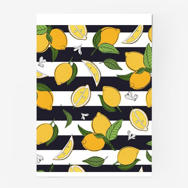 Постер «Принт с лимонами на полосатом фоне»