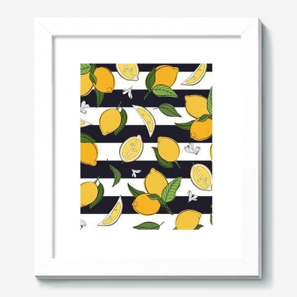 Картина «Принт с лимонами на полосатом фоне»
