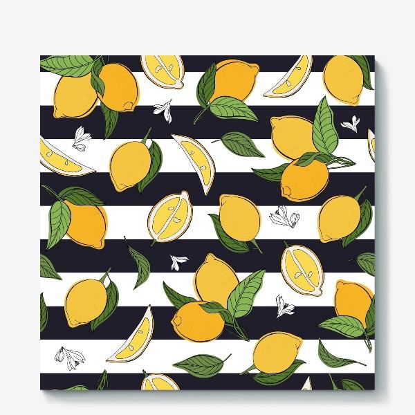 Холст «Принт с лимонами на полосатом фоне»