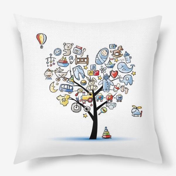 Подушка «Дерево с игрушками»