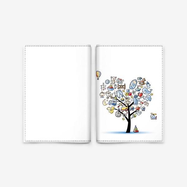 Обложка для паспорта «Дерево с игрушками»