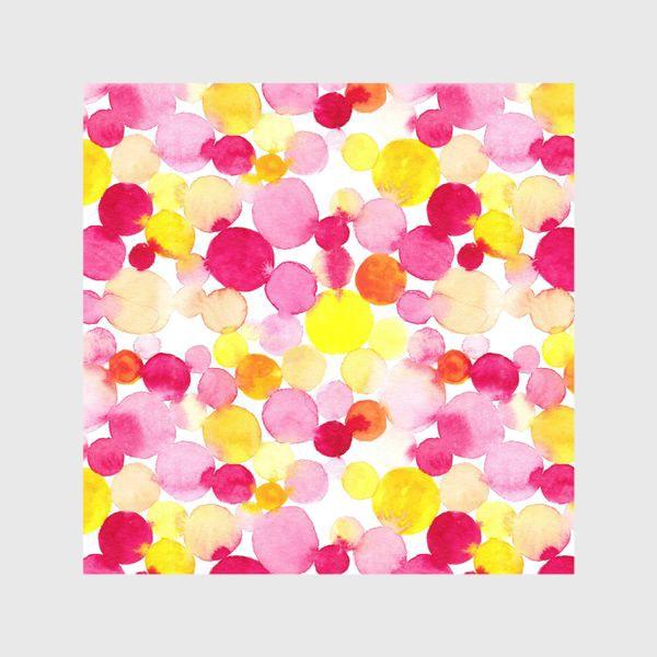 Шторы «Акварельные круги, летний абстрактный геометрический паттерн в горошек розовый желтый, оранжевый на белом фоне»