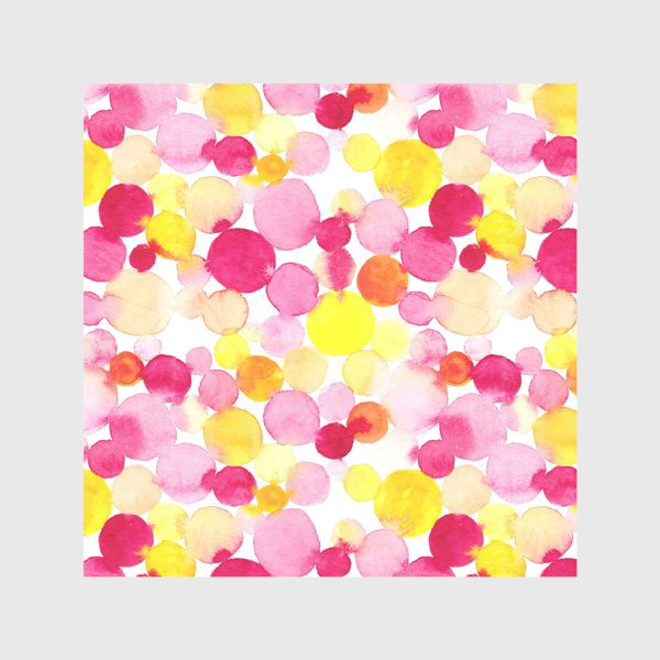 Скатерть «Акварельные круги, летний абстрактный геометрический паттерн в горошек розовый желтый, оранжевый на белом фоне»