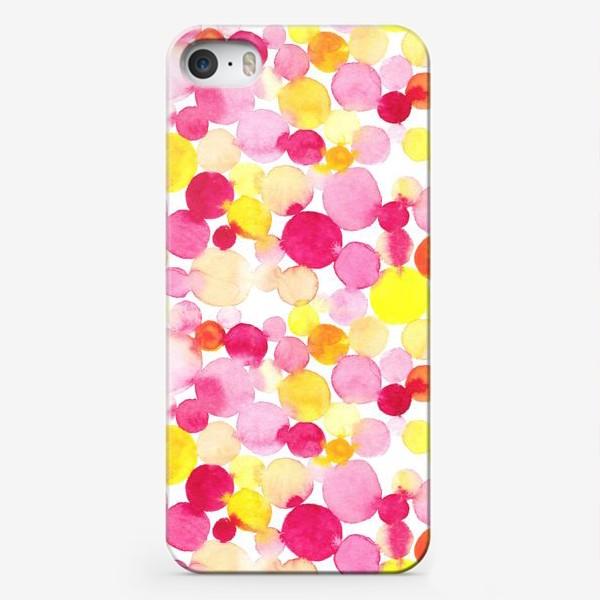 Чехол iPhone «Акварельные круги, летний абстрактный геометрический паттерн в горошек розовый желтый, оранжевый на белом фоне»