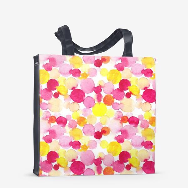 Сумка-шоппер «Акварельные круги, летний абстрактный геометрический паттерн в горошек розовый желтый, оранжевый на белом фоне»