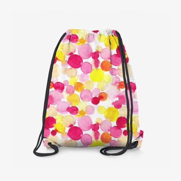 Рюкзак «Акварельные круги, летний абстрактный геометрический паттерн в горошек розовый желтый, оранжевый на белом фоне»