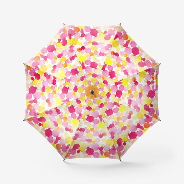 Зонт «Акварельные круги, летний абстрактный геометрический паттерн в горошек розовый желтый, оранжевый на белом фоне»