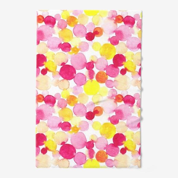 Полотенце «Акварельные круги, летний абстрактный геометрический паттерн в горошек розовый желтый, оранжевый на белом фоне»