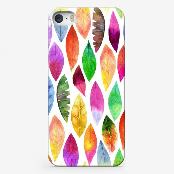 Чехол iPhone «Акварельные нежные яркие разноцветные листья на белом фоне»