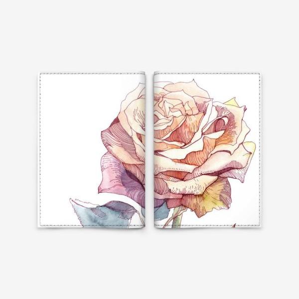 Обложка для паспорта «Персиковая роза»