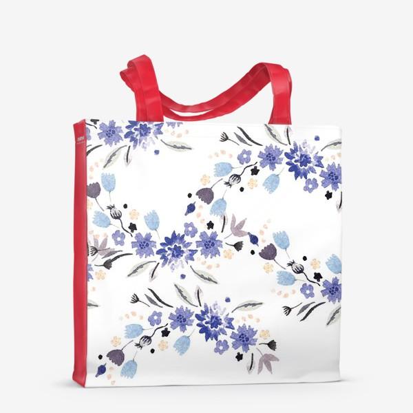 Сумка-шоппер «Весенние синие цветы»
