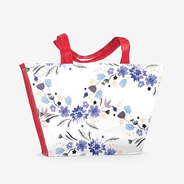 Пляжная сумка «Весенние синие цветы»