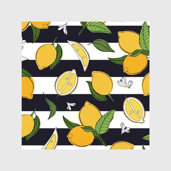 Шторы «Принт с лимонами на полосатом фоне»