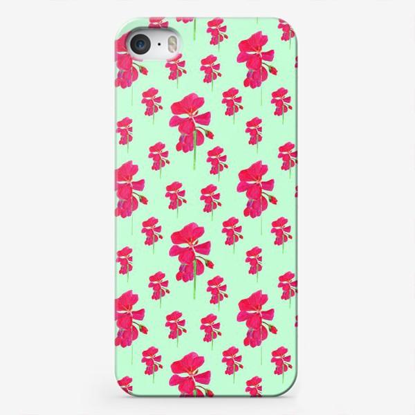 Чехол iPhone «красная герань паттерн на мятном»