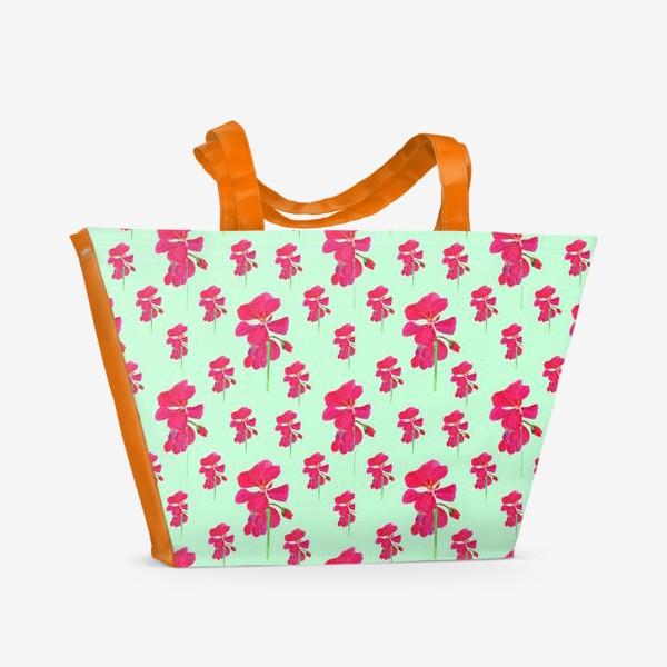 Пляжная сумка «красная герань паттерн на мятном»