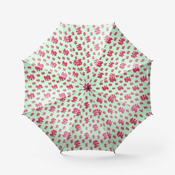 Зонт «красная герань паттерн на мятном»