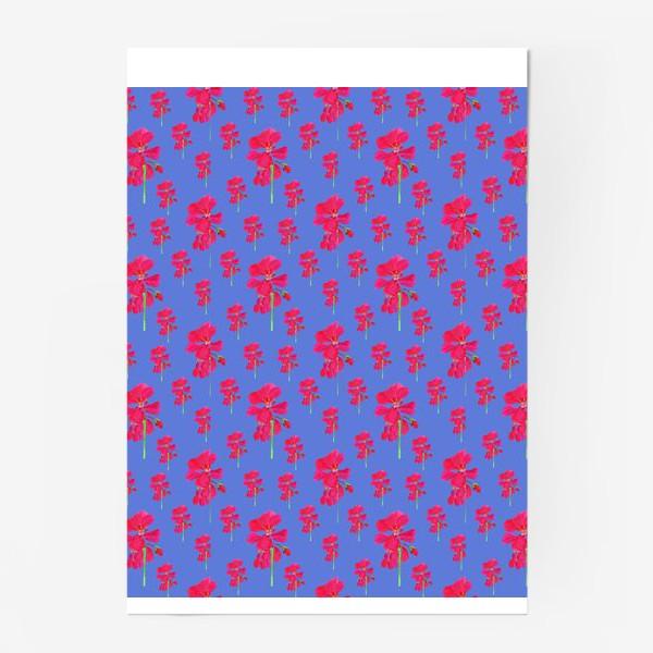 Постер «красная герань паттерн на синем»