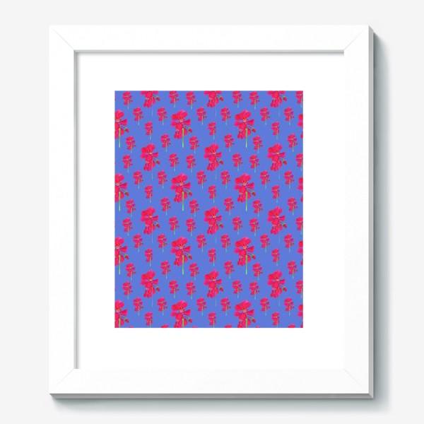Картина «красная герань паттерн на синем»