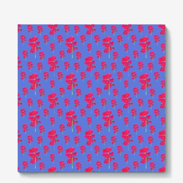 Холст «красная герань паттерн на синем»