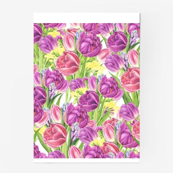 Постер «Яркий цветочный принт с тюльпанами»