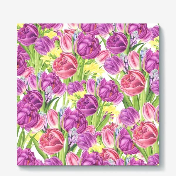Холст «Яркий цветочный принт с тюльпанами»