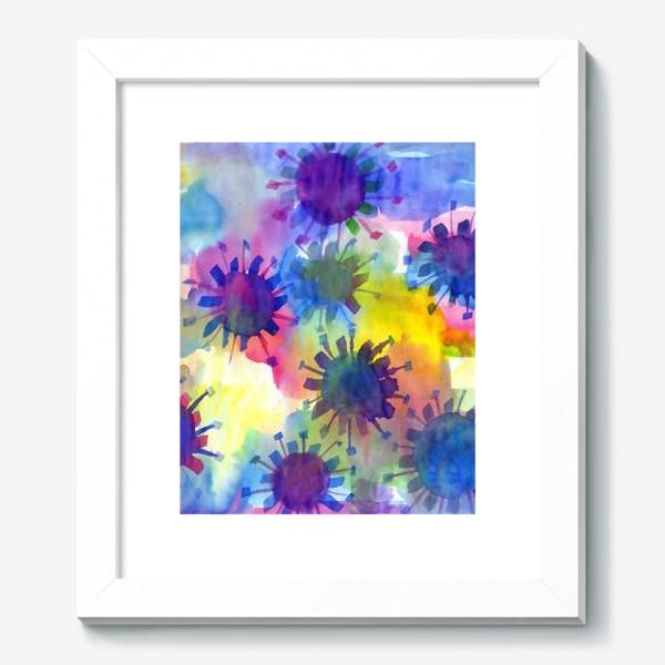 Картина «Акварельные кляксы на разноцветном фоне»