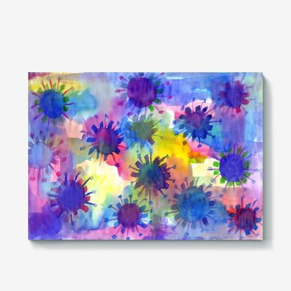 Холст «Акварельные кляксы на разноцветном фоне»