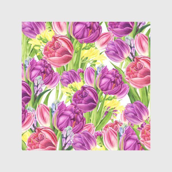 Шторы «Яркий цветочный принт с тюльпанами»