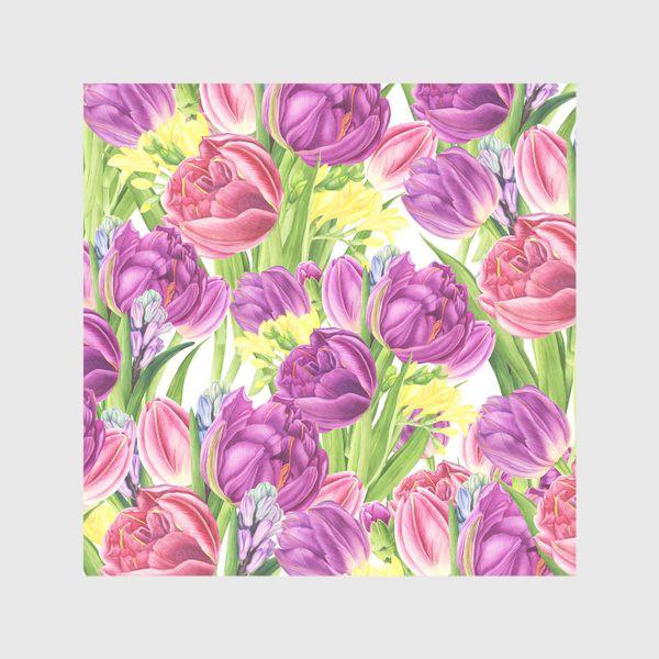 Скатерть «Яркий цветочный принт с тюльпанами»