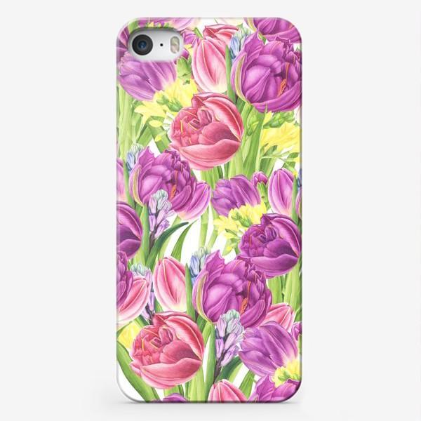 Чехол iPhone «Яркий цветочный принт с тюльпанами»