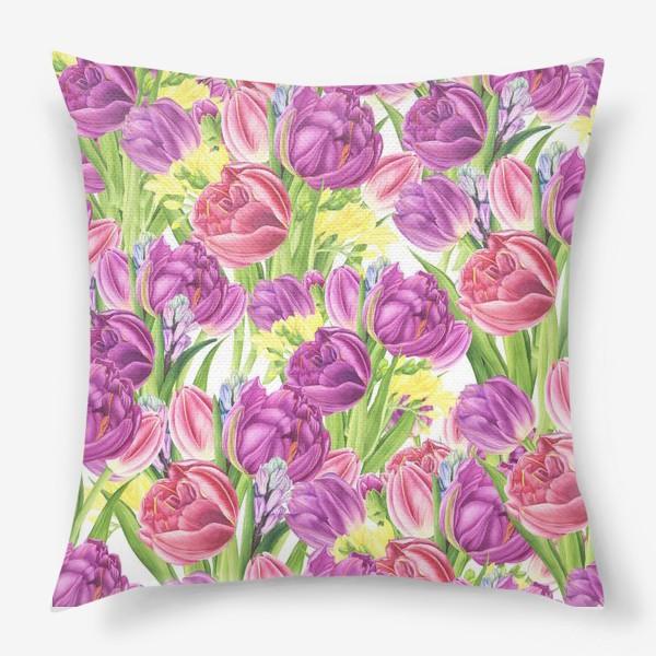 Подушка «Яркий цветочный принт с тюльпанами»