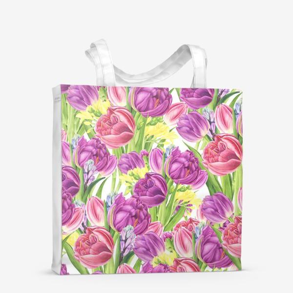 Сумка-шоппер «Яркий цветочный принт с тюльпанами»