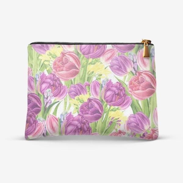 Косметичка «Яркий цветочный принт с тюльпанами»