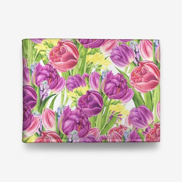 Кошелек «Яркий цветочный принт с тюльпанами»