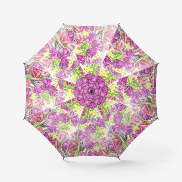 Зонт «Яркий цветочный принт с тюльпанами»