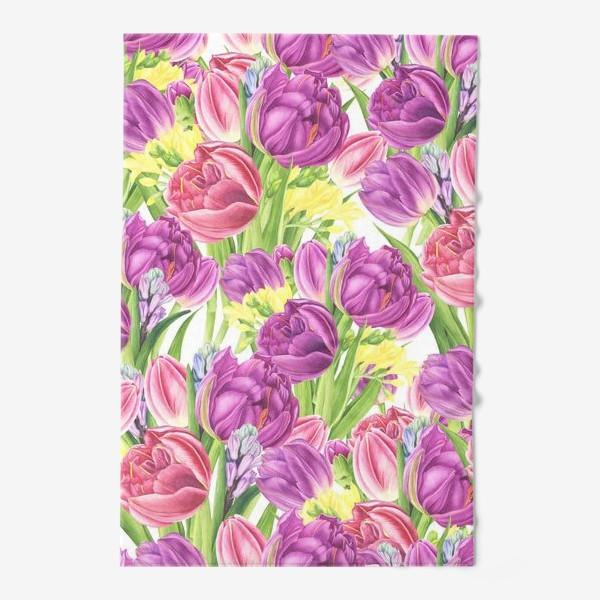 Полотенце «Яркий цветочный принт с тюльпанами»