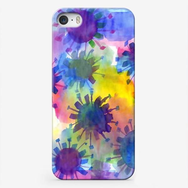 Чехол iPhone «Акварельные кляксы на разноцветном фоне»