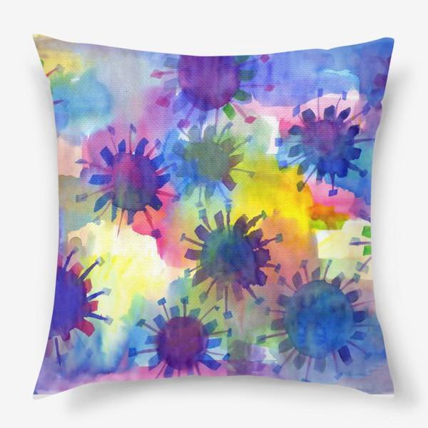 Подушка «Акварельные кляксы на разноцветном фоне»