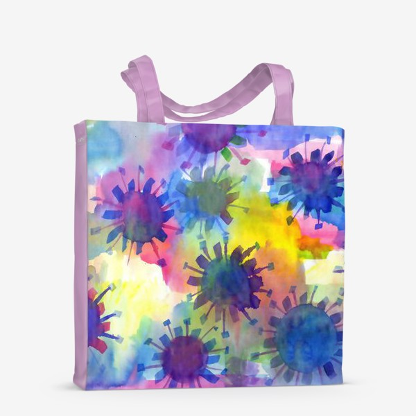 Сумка-шоппер «Акварельные кляксы на разноцветном фоне»