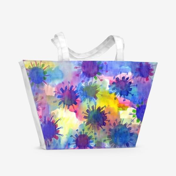 Пляжная сумка «Акварельные кляксы на разноцветном фоне»