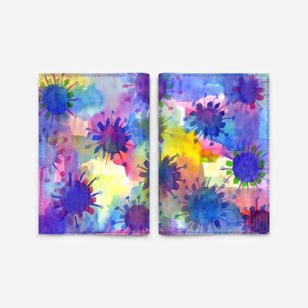 Обложка для паспорта «Акварельные кляксы на разноцветном фоне»