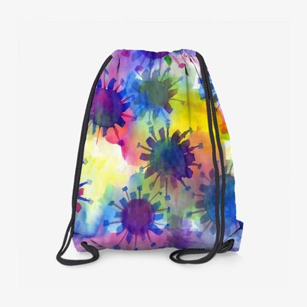 Рюкзак «Акварельные кляксы на разноцветном фоне»